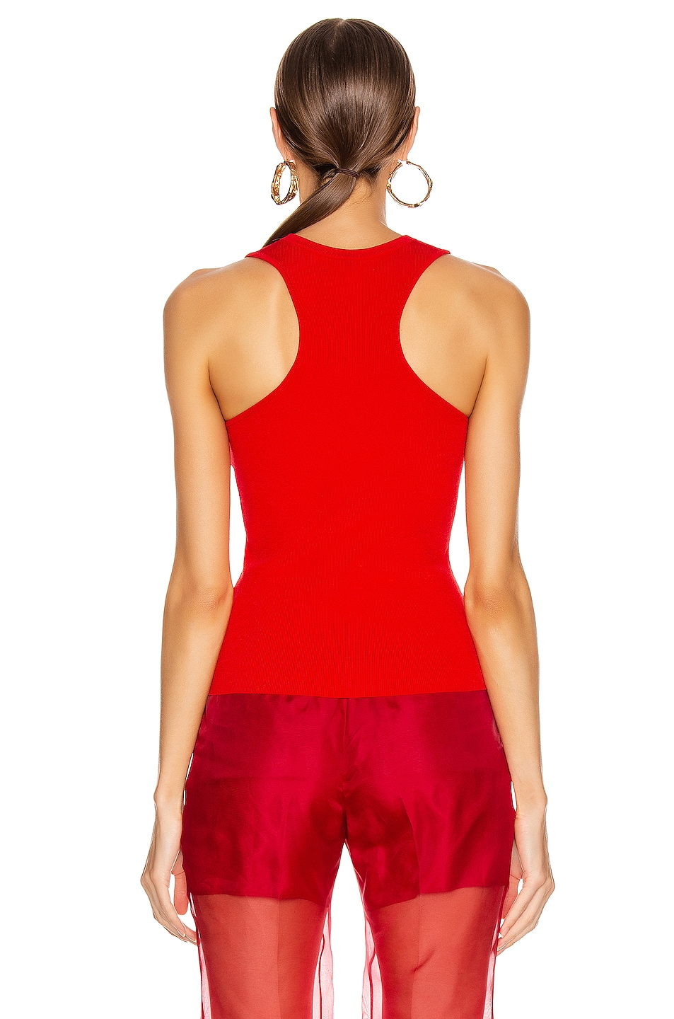 Image 3 of Cushnie Racer Cut Knit Tank in Vermillion