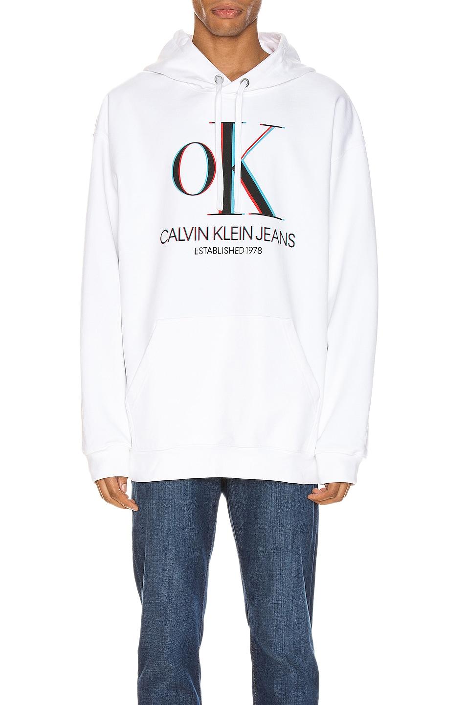 Image 1 of Calvin Klein Est. 1978 3D Logo Hoodie in Brilliant White