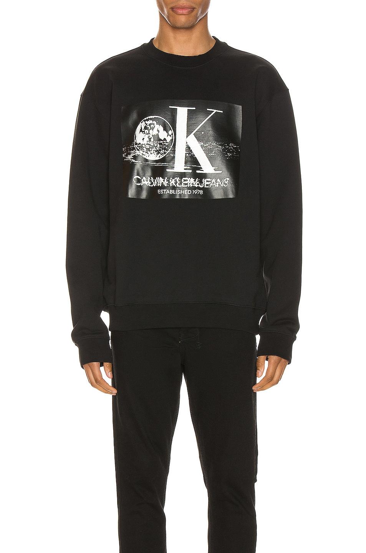 Image 1 of Calvin Klein Est. 1978 Graphic Crewneck Sweatshirt in Black Beauty