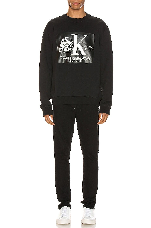 Image 4 of Calvin Klein Est. 1978 Graphic Crewneck Sweatshirt in Black Beauty