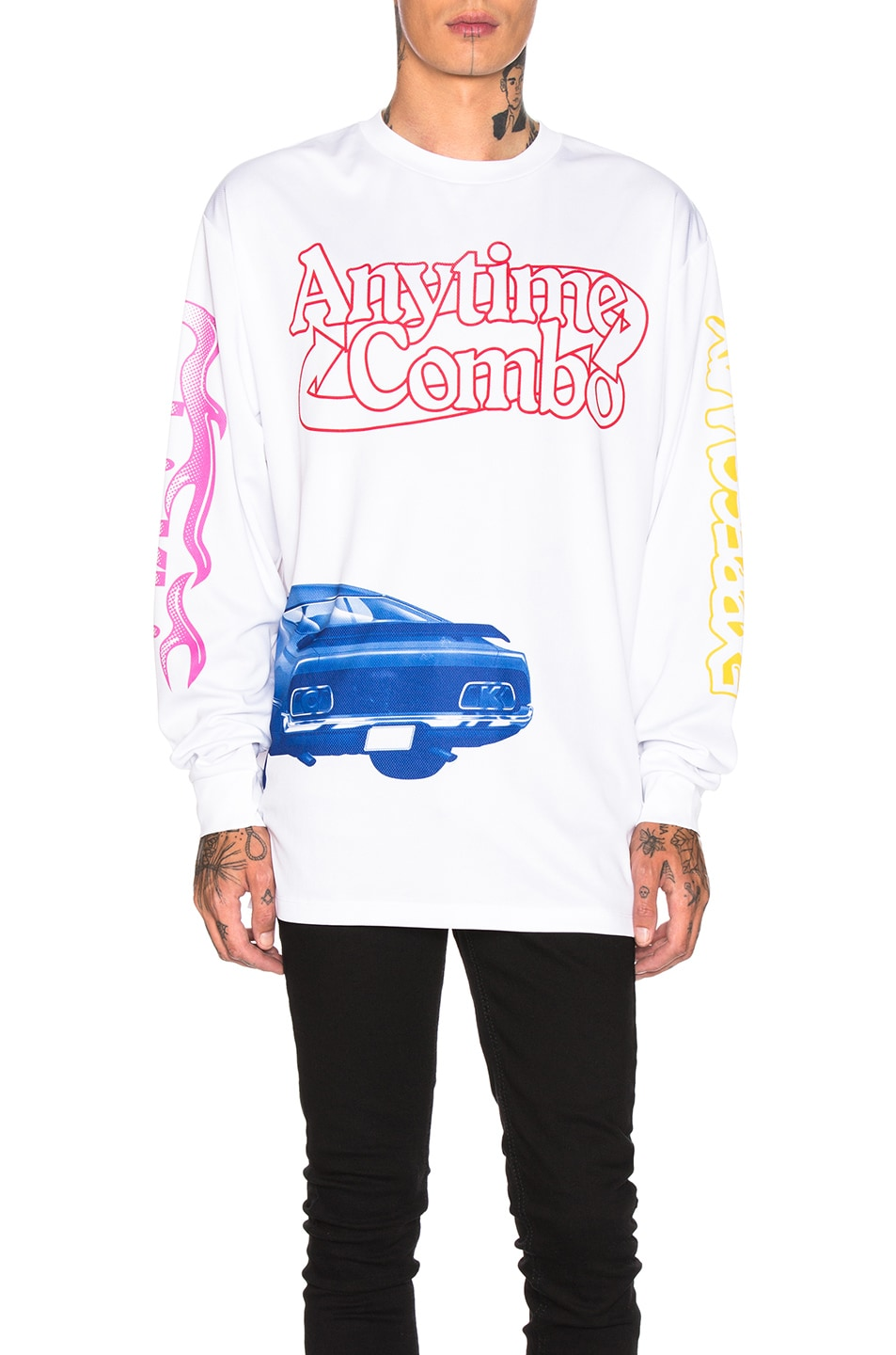 Image 1 of Calvin Klein Est. 1978 Graphic Long Sleeve Tee in White & Multi