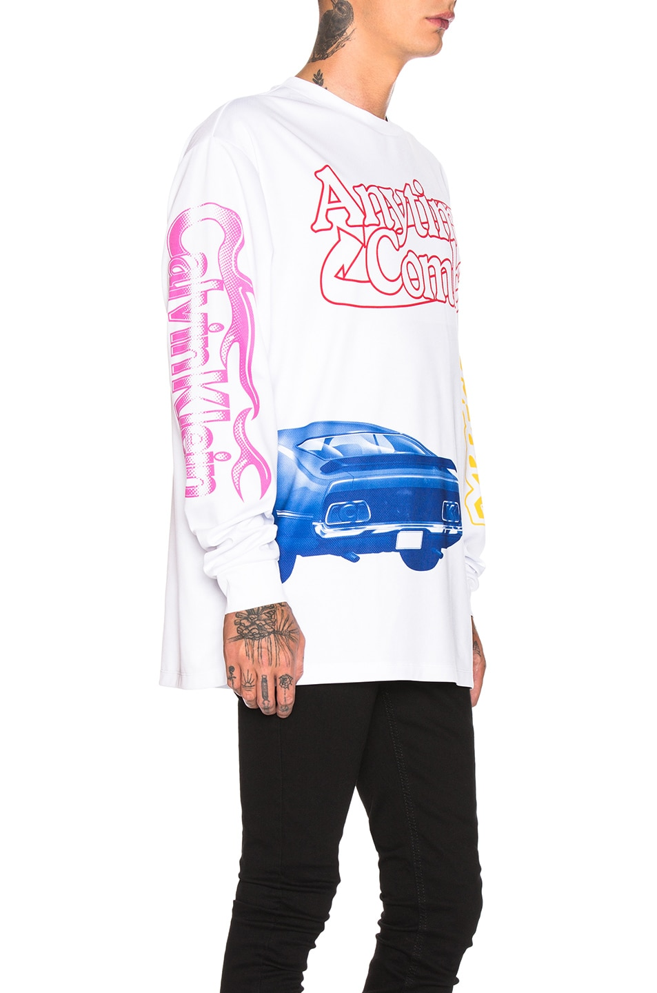 Image 2 of Calvin Klein Est. 1978 Graphic Long Sleeve Tee in White & Multi