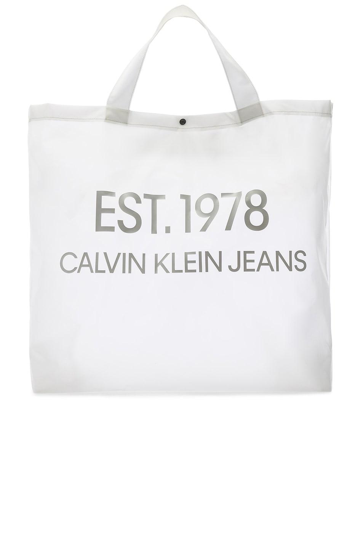 Image 1 of Calvin Klein Est. 1978 Logo Big Tote in Transparent