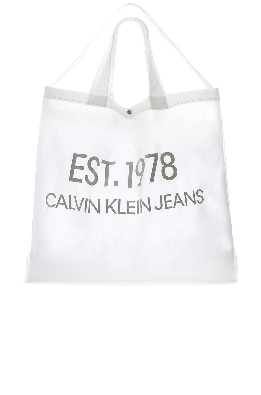 Image 6 of Calvin Klein Est. 1978 Logo Big Tote in Transparent