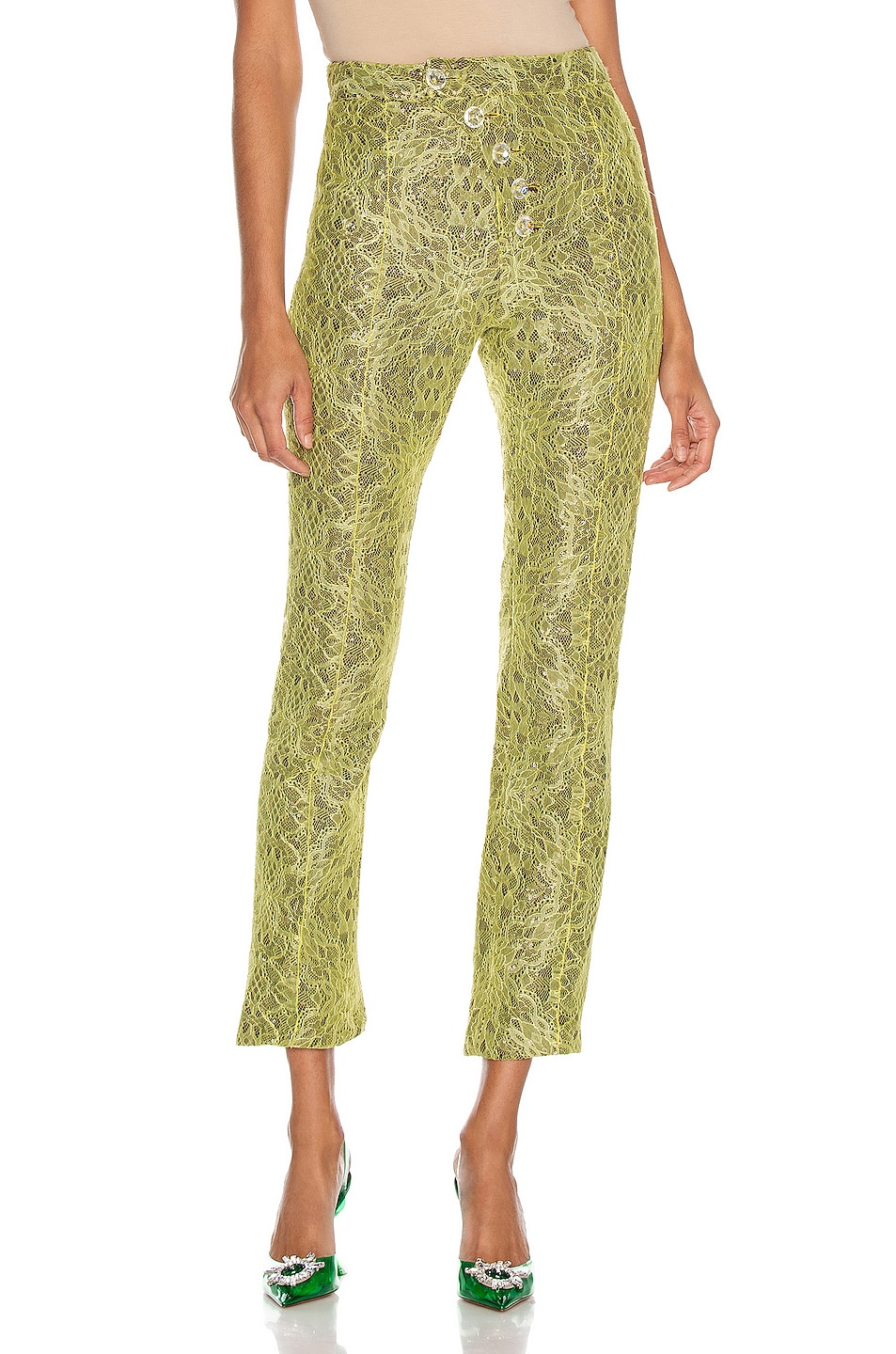 Image 1 of CHRISTIAN COWAN Lace Sequin Tailored Pant in Yellow 12