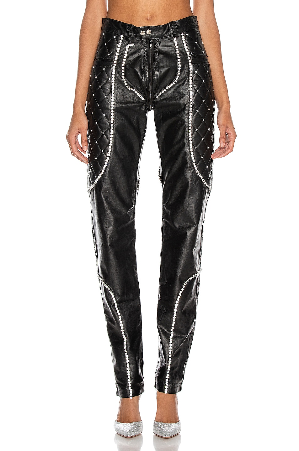 Image 1 of CHRISTIAN COWAN Leather and Swarovski Crystal Skinny Pant in Black 1