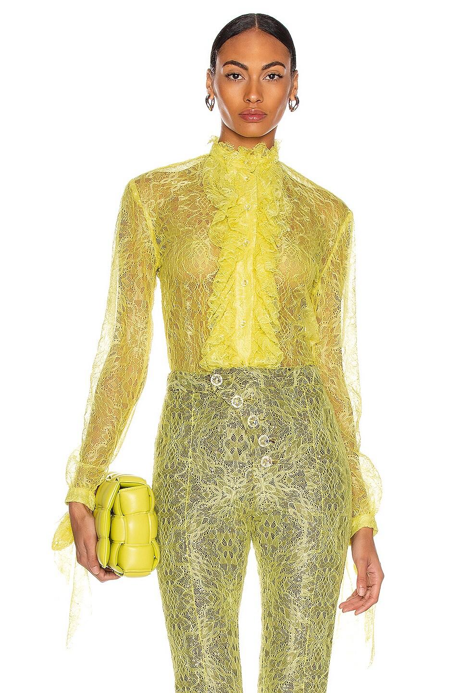 Image 1 of CHRISTIAN COWAN Lace Long Sleeve Ruffle Top in Yellow 12