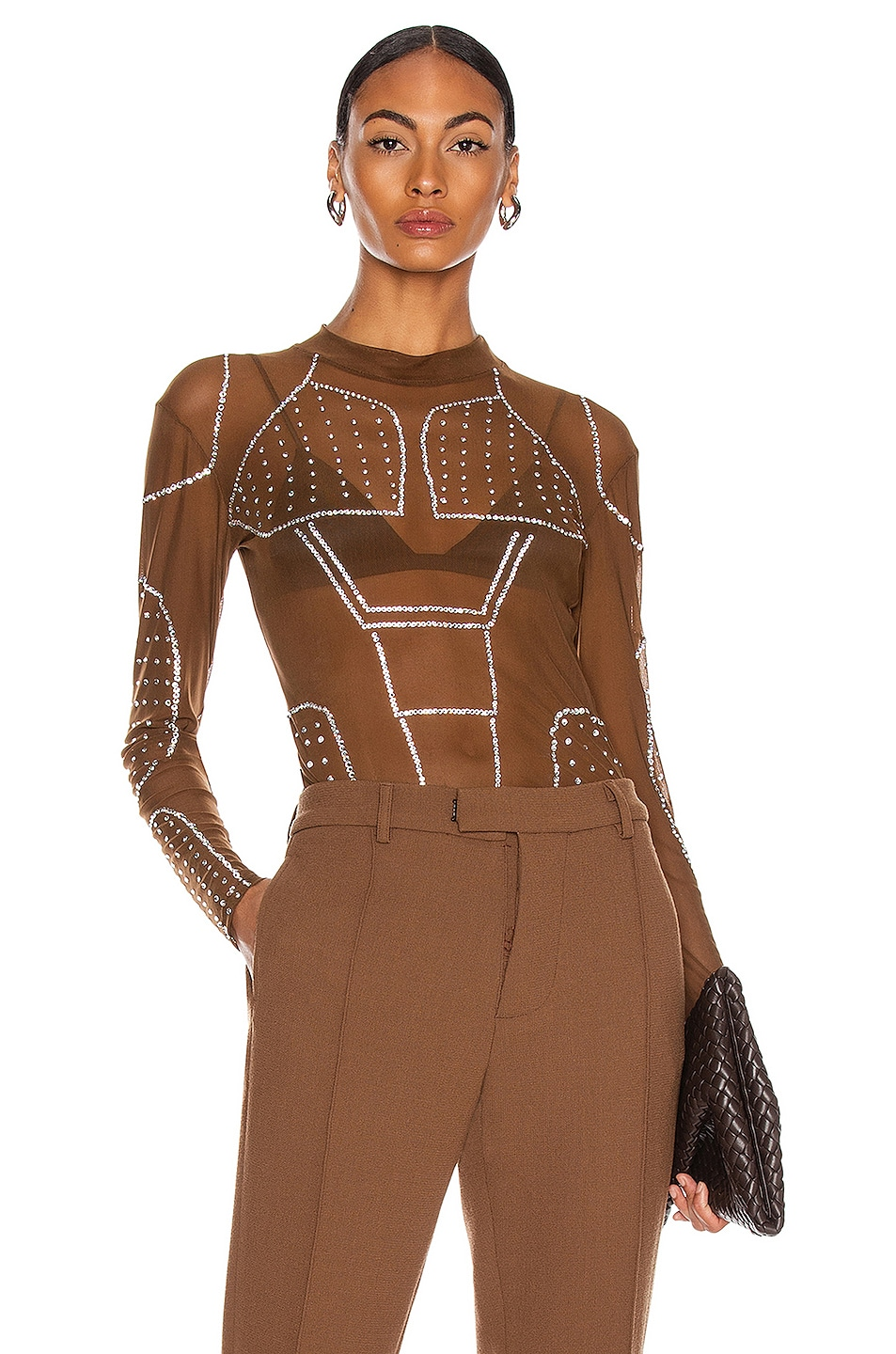 Image 1 of CHRISTIAN COWAN Mesh and Swarovski Crystal Long Sleeve Top in Neutral 13