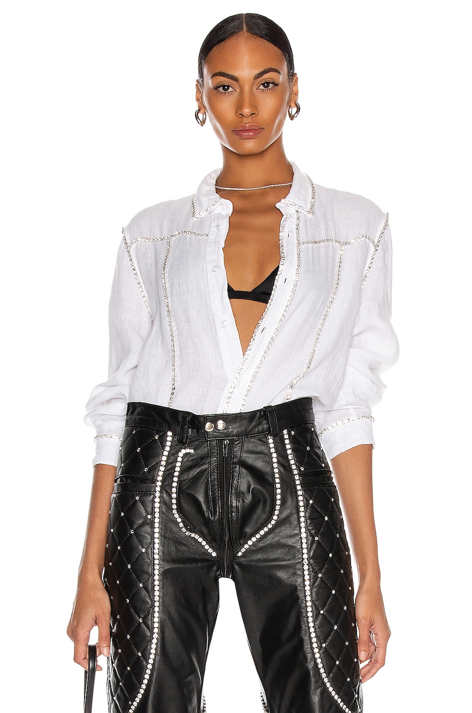 Image 1 of CHRISTIAN COWAN Linen and Swarovski Long Sleeve Top in White 7