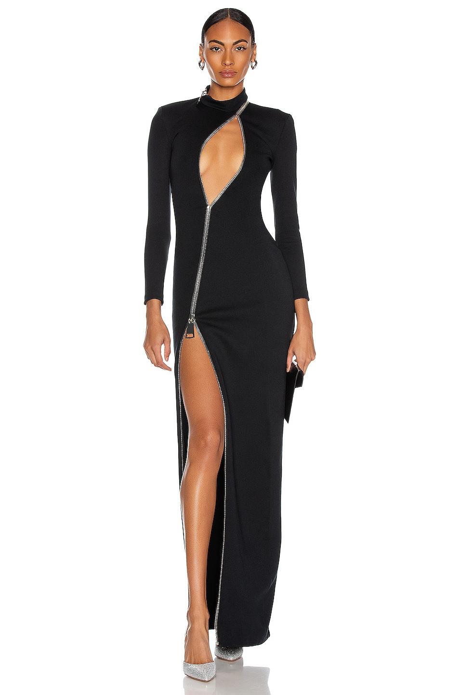 Image 1 of CHRISTIAN COWAN Long Sleeve Slit Dress in Black 1