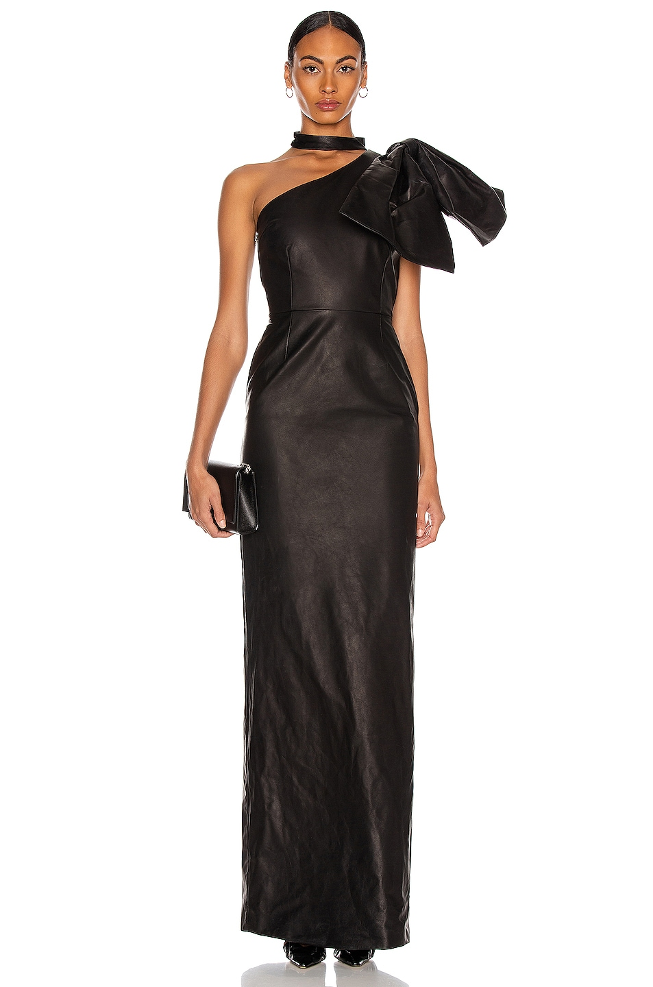Image 1 of CHRISTIAN COWAN Leather One Shoulder Leather Dress in Black 1