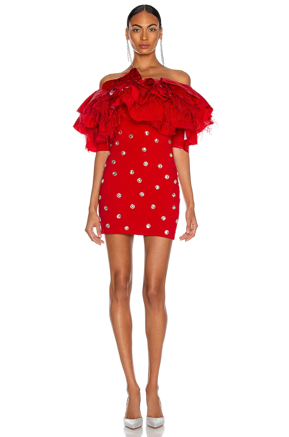 Image 1 of CHRISTIAN COWAN Silk and Crystal Off the Shoulder Ruffle Mini Dress in Red 10