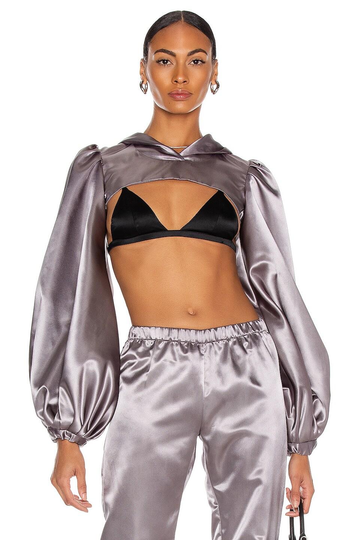 Image 1 of CHRISTIAN COWAN Satin Long Sleeve Exaggerated Sleeve Sweatshirt in Grey 9