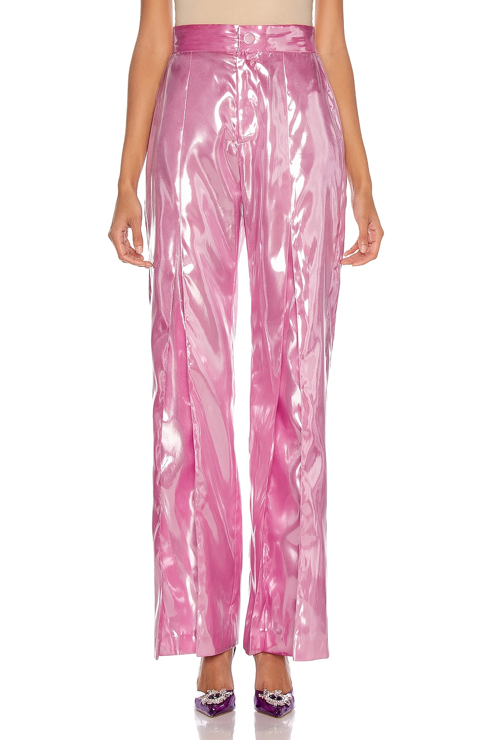 Image 1 of CHRISTIAN COWAN Silk Tailored Pant in Pink 8