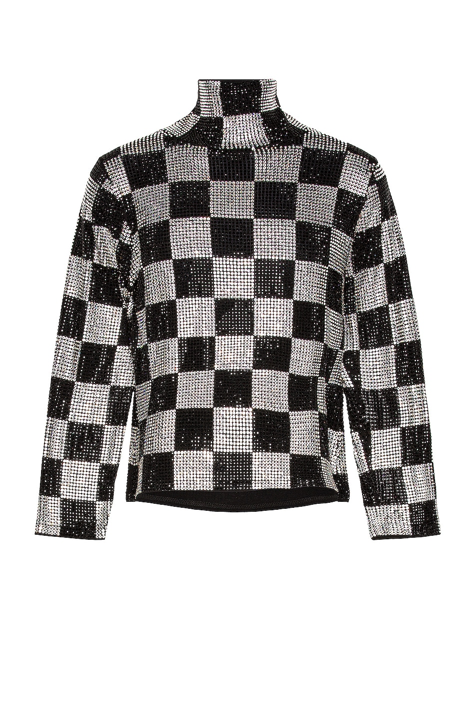 Image 1 of CHRISTIAN COWAN Swarovski Crystal Checkered Long Sleeve Top in Multi 3