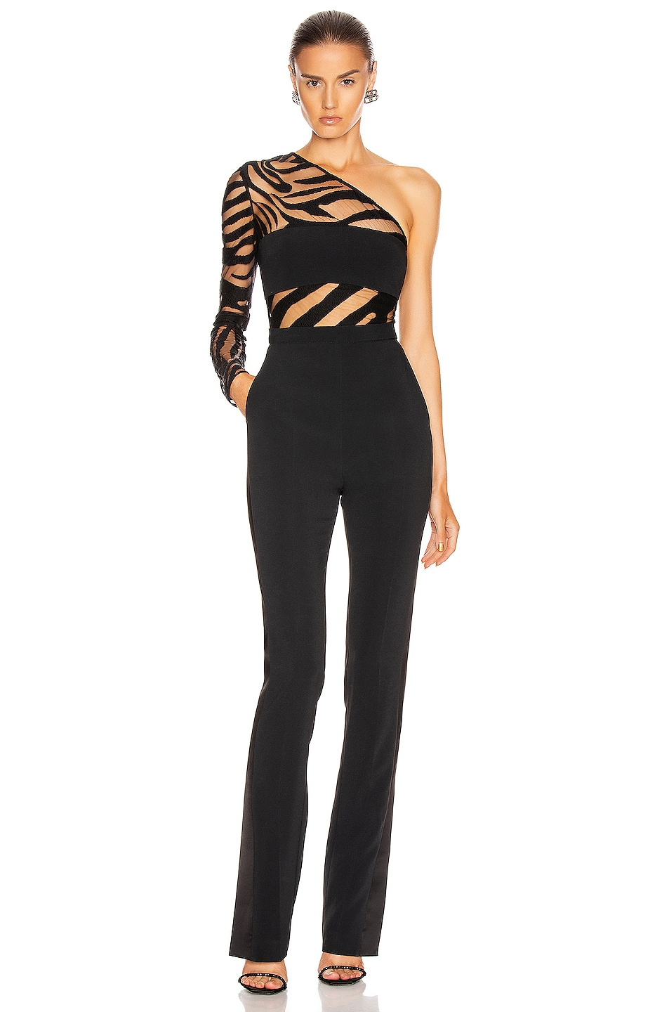 Image 1 of David Koma Zebra Panel One Shoulder Jumpsuit in Black