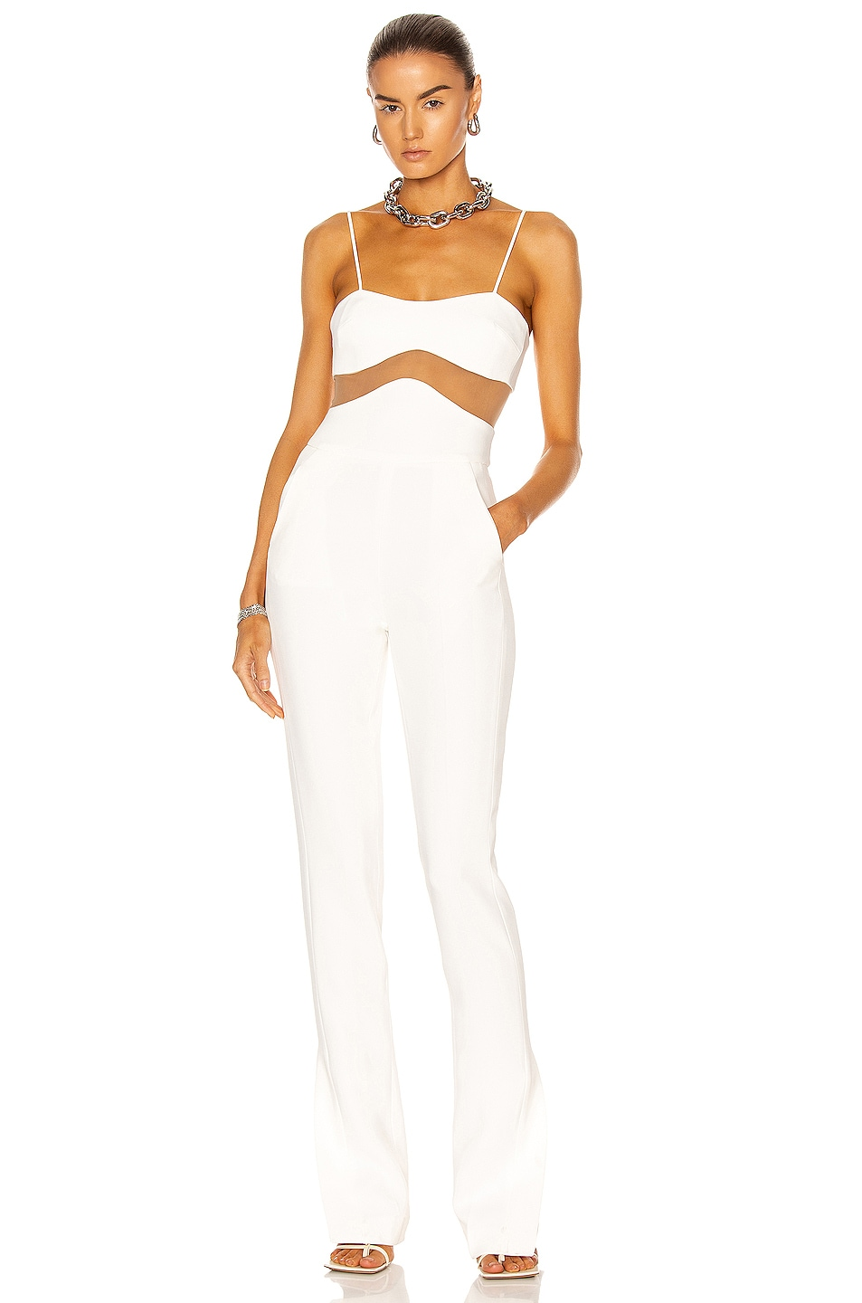 Image 1 of David Koma Linear Midriff Jumpsuit in White & Nude