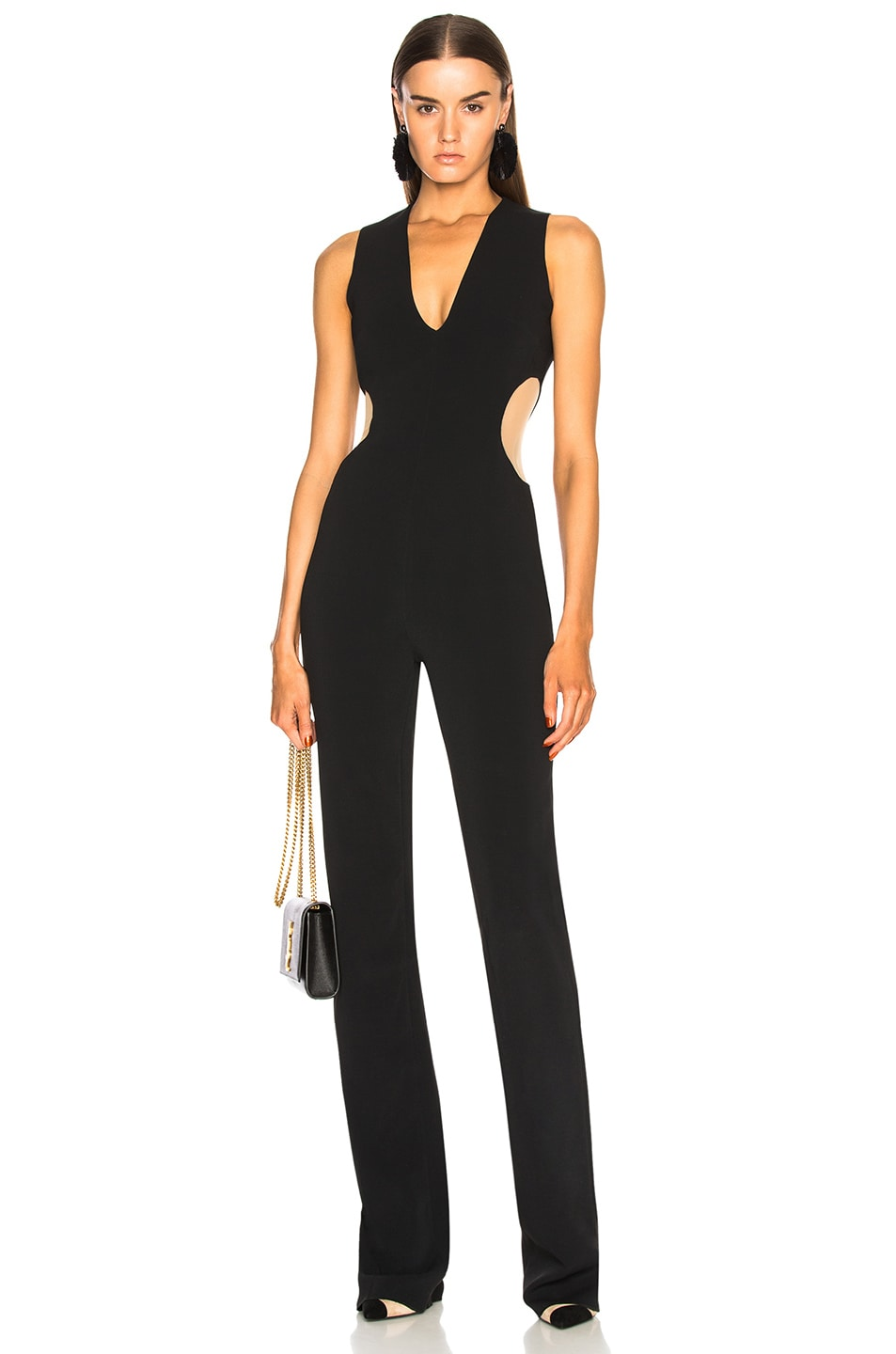 Image 1 of David Koma Circle Cutout V Neck Jumpsuit in Black