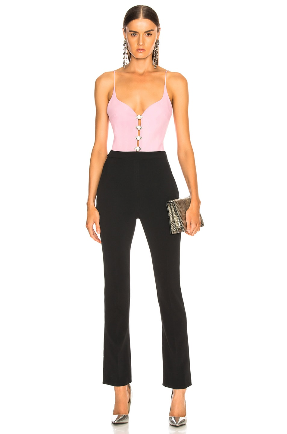 Image 1 of David Koma Sweetheart Neck Jumpsuit in Pink, Silver & Black