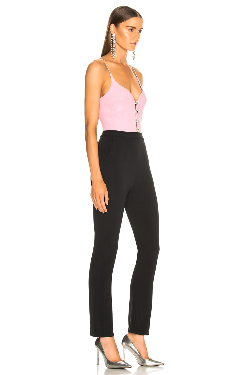 Image 2 of David Koma Sweetheart Neck Jumpsuit in Pink, Silver & Black