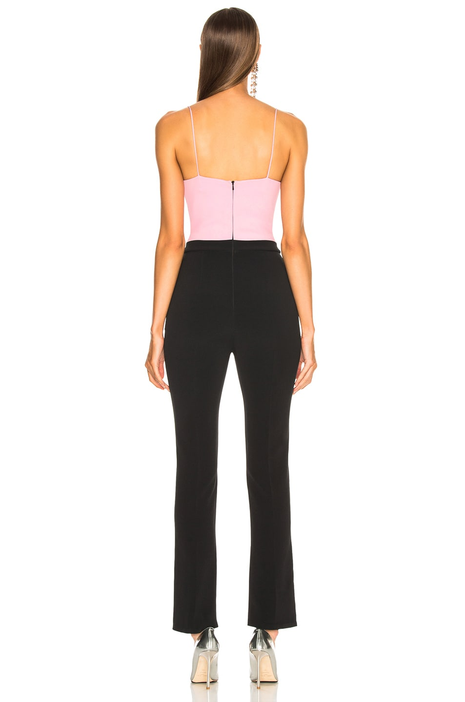 Image 3 of David Koma Sweetheart Neck Jumpsuit in Pink, Silver & Black