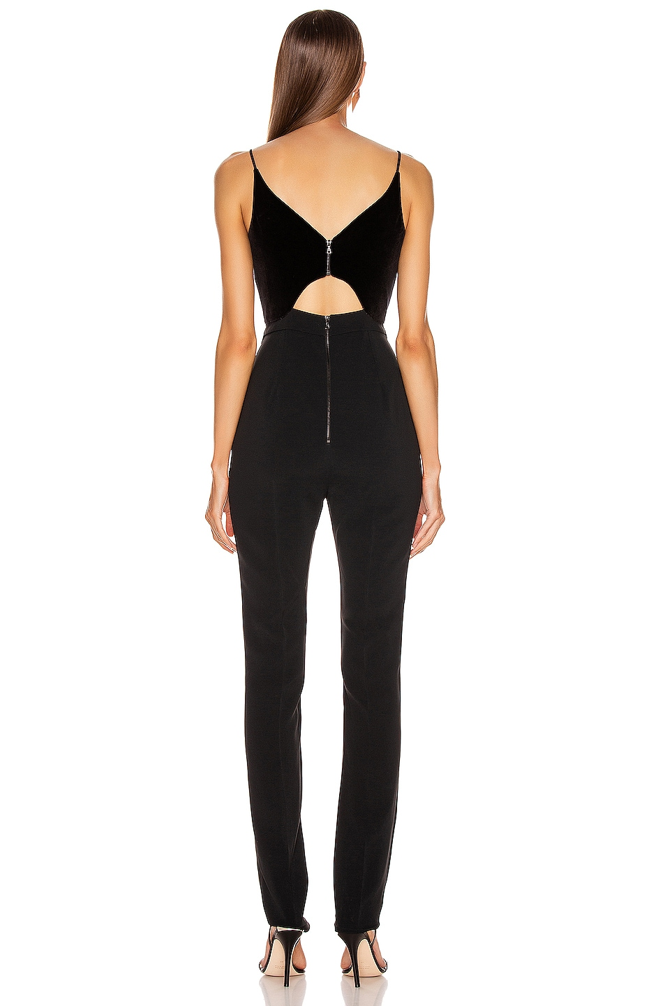 Image 3 of David Koma Butterfly Cut Jumpsuit in Black & Silver