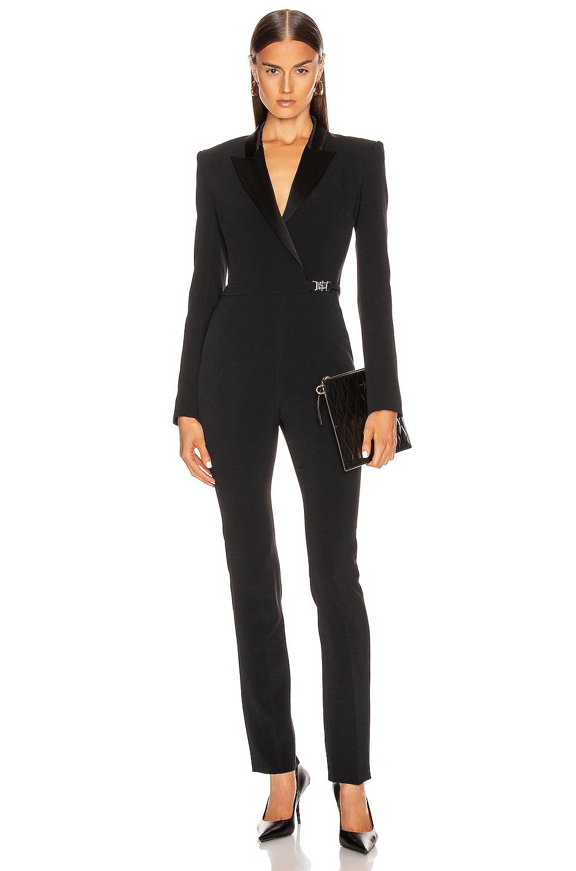 Image 1 of David Koma Tuxedo Tailored Jumpsuit in Black