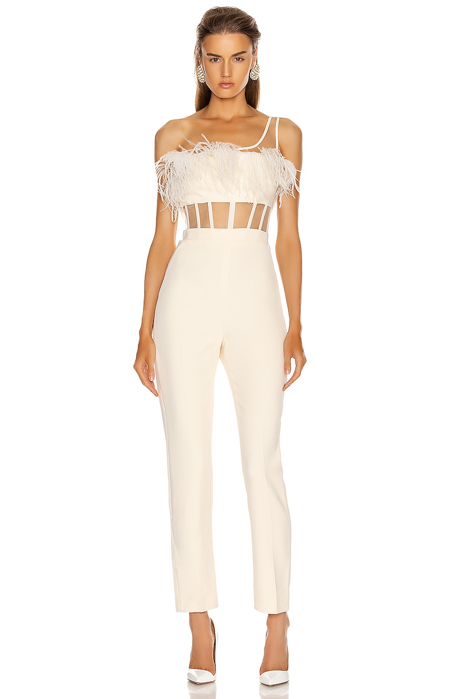Image 1 of David Koma One Strap Feather Corset Jumpsuit in Ivory