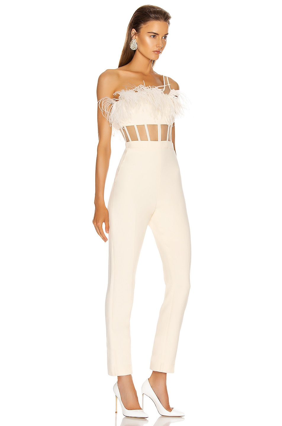 Image 2 of David Koma One Strap Feather Corset Jumpsuit in Ivory
