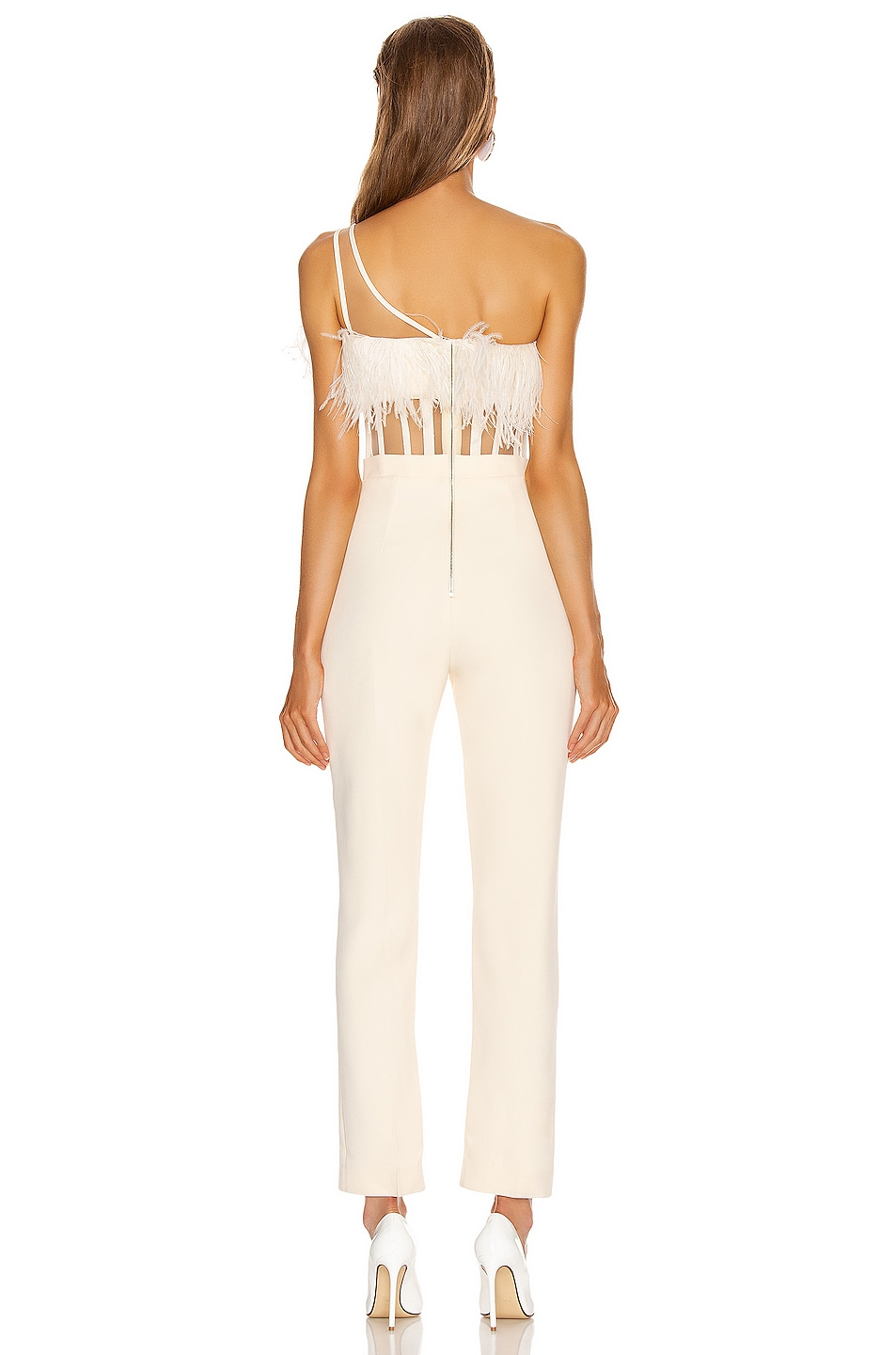 Image 4 of David Koma One Strap Feather Corset Jumpsuit in Ivory