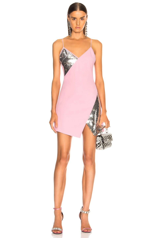 Image 1 of David Koma Asymmetrical Mini Dress in Pink & Silver