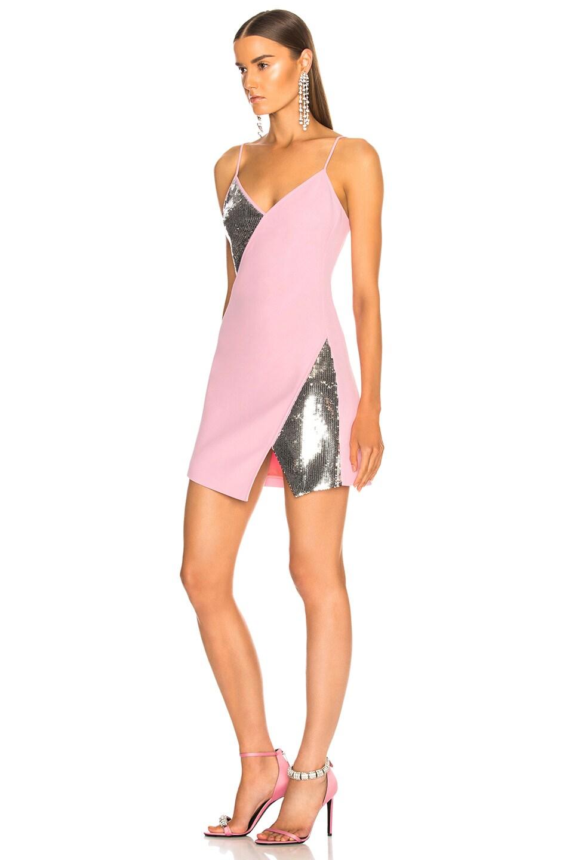 Image 3 of David Koma Asymmetrical Mini Dress in Pink & Silver