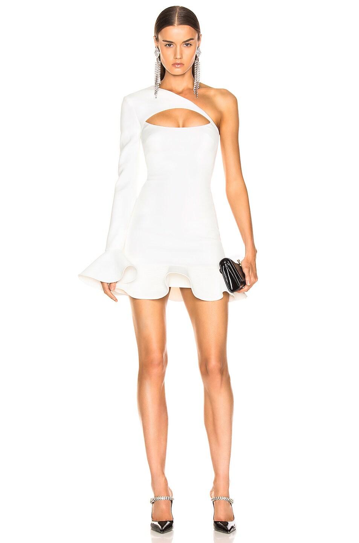 Image 1 of David Koma One Shoulder Mini Dress in White