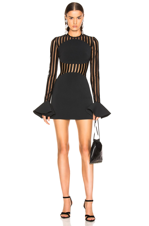 Image 1 of David Koma Macrame Long Sleeve Mini Dress in Black