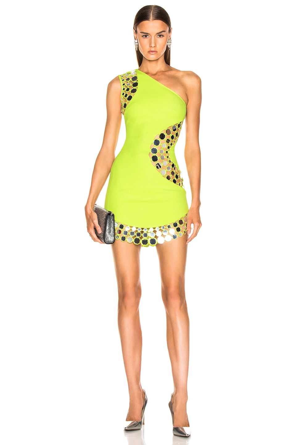 Image 1 of David Koma Circle Embellished One Should Dress in Neon Yellow & Silver
