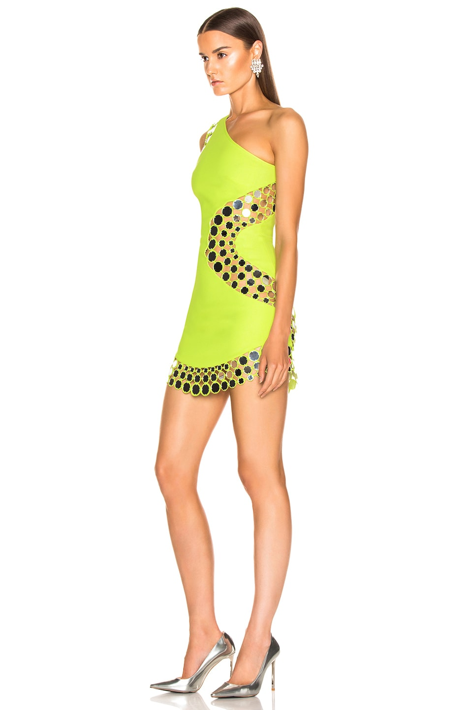 Image 3 of David Koma Circle Embellished One Should Dress in Neon Yellow & Silver