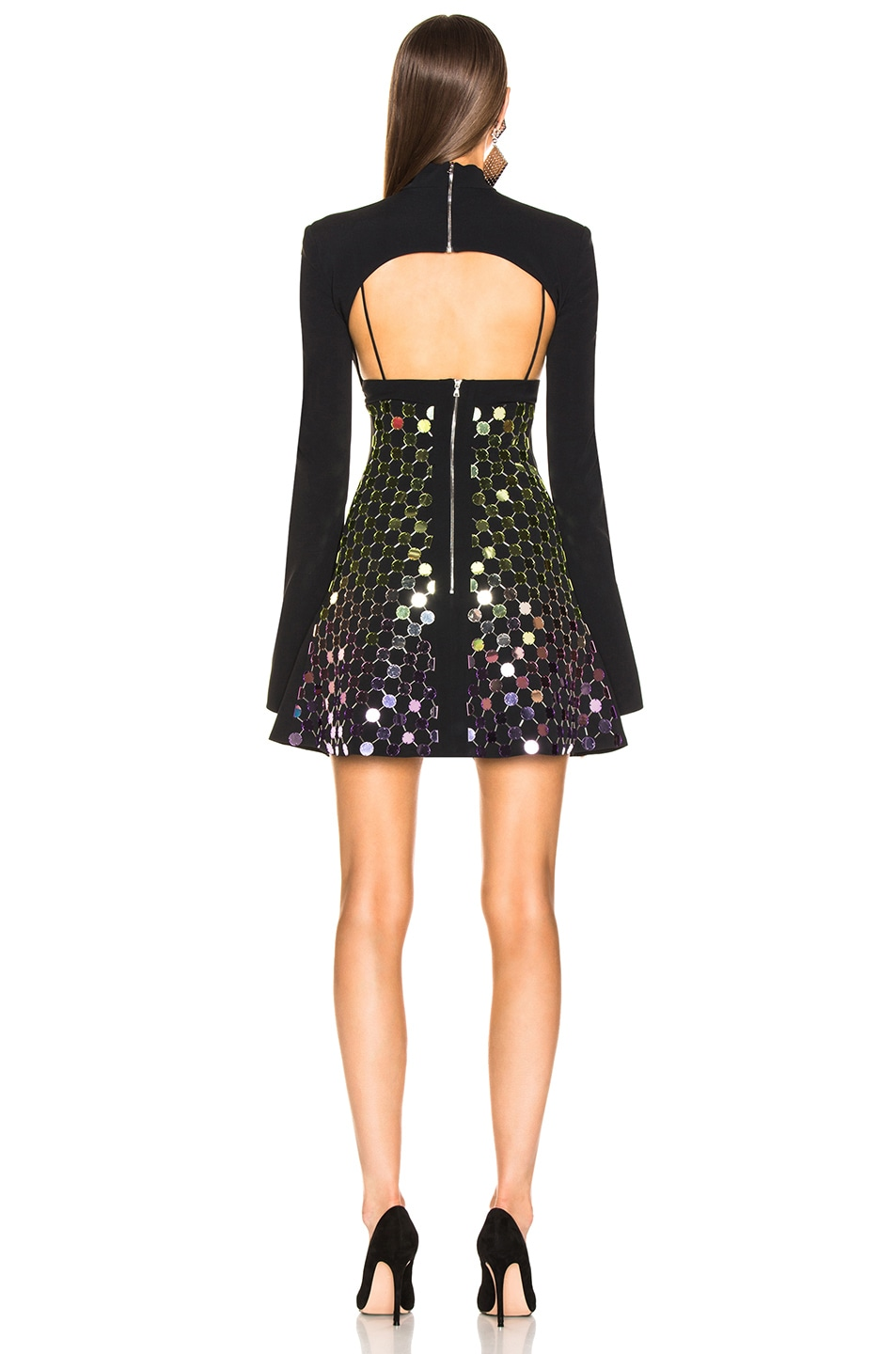 Image 3 of David Koma Circle Embellished Triangle Bra Dress in Gradient & Black