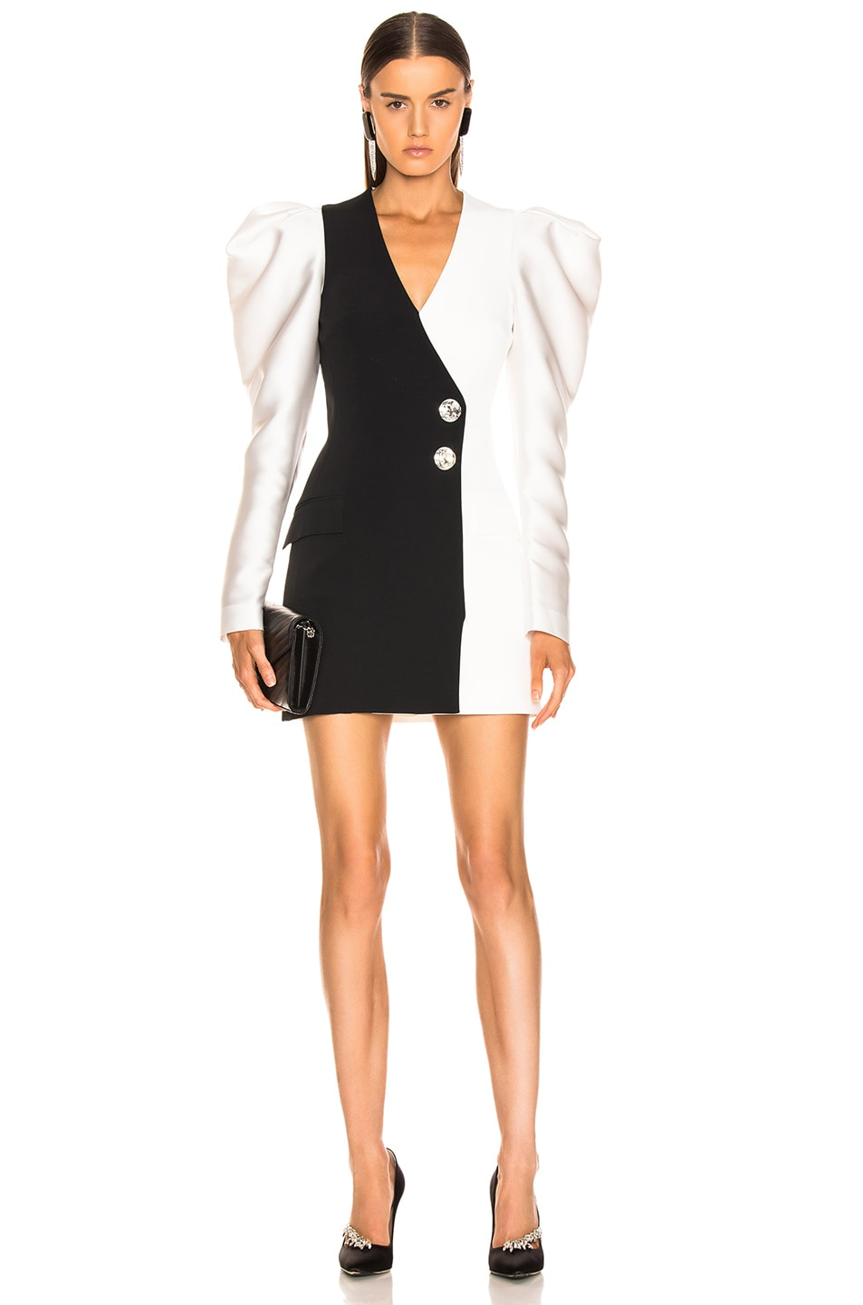 bcb4b86e Image 1 of David Koma Gigot Sleeve Tailored Dress in White & Black