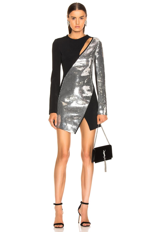 Image 1 of David Koma Cutout Sequin Mini Dress in Black & Silver