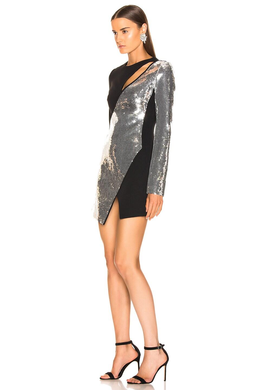Image 3 of David Koma Cutout Sequin Mini Dress in Black & Silver