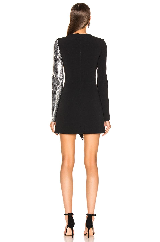 Image 4 of David Koma Cutout Sequin Mini Dress in Black & Silver