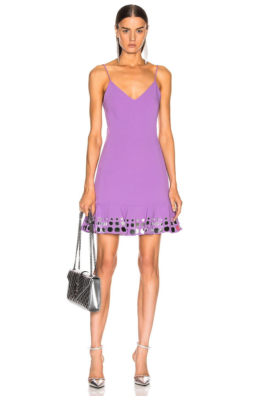 Image 1 of David Koma Circle Embellished Ruffle Mini Dress in Lavender & Silver