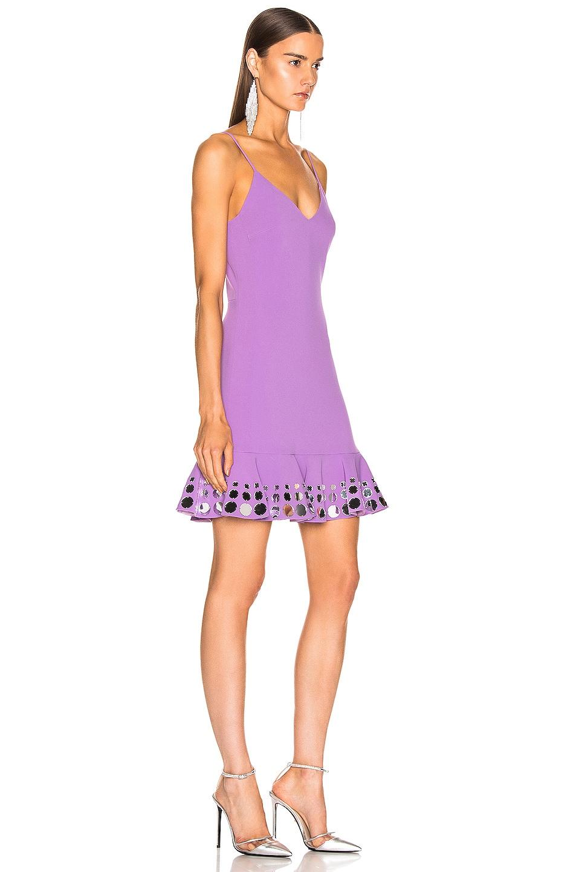 Image 2 of David Koma Circle Embellished Ruffle Mini Dress in Lavender & Silver