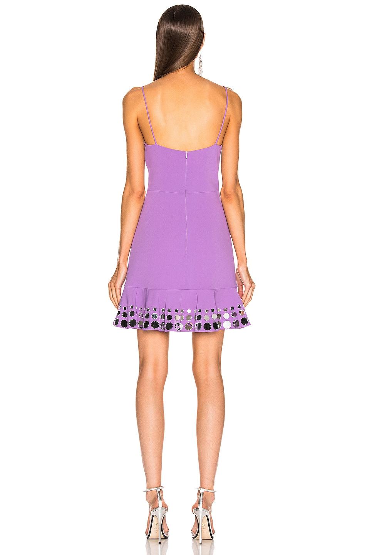Image 3 of David Koma Circle Embellished Ruffle Mini Dress in Lavender & Silver