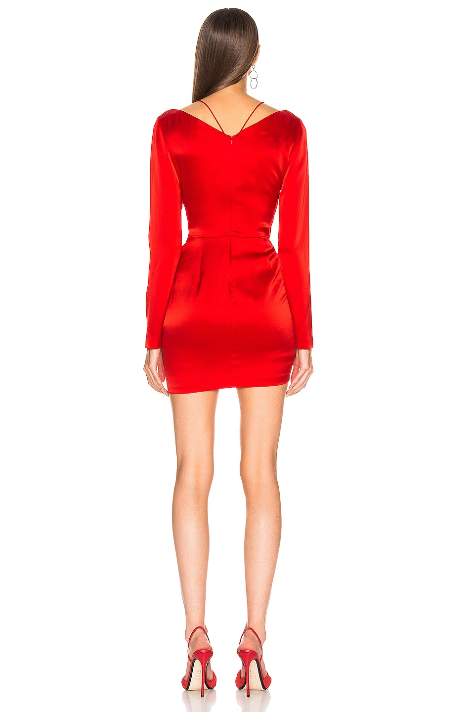 Image 3 of David Koma Ruched Front Mini Dress in Red