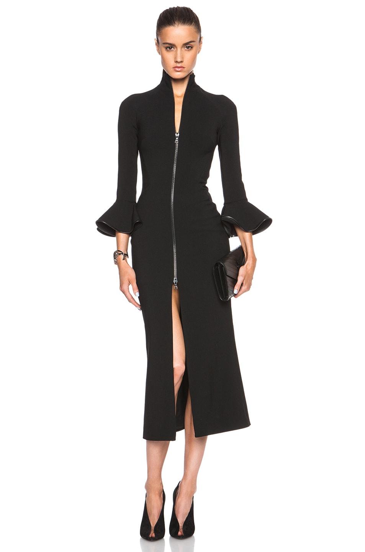 Image 1 of David Koma Short Peplum Sleeve Zip Dress in Black