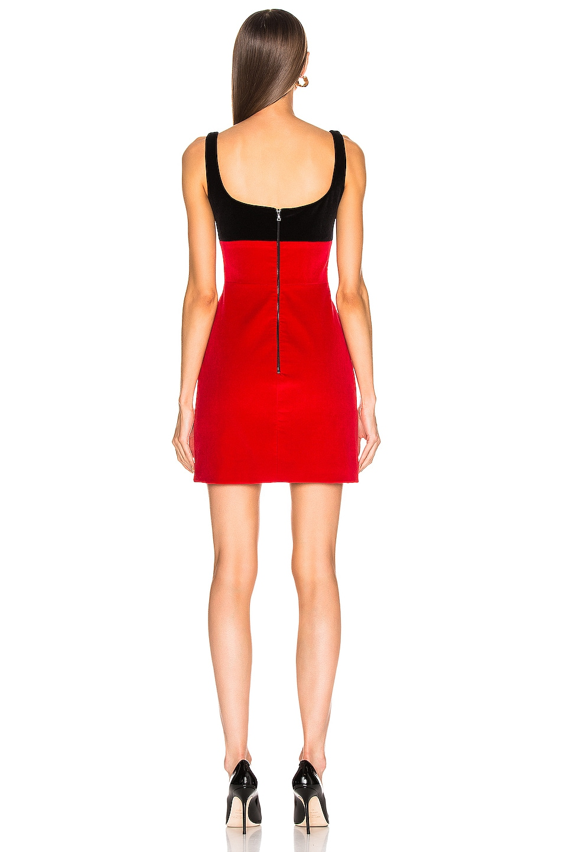 Image 3 of David Koma Contrast Cutout Mini Dress in Black & Red