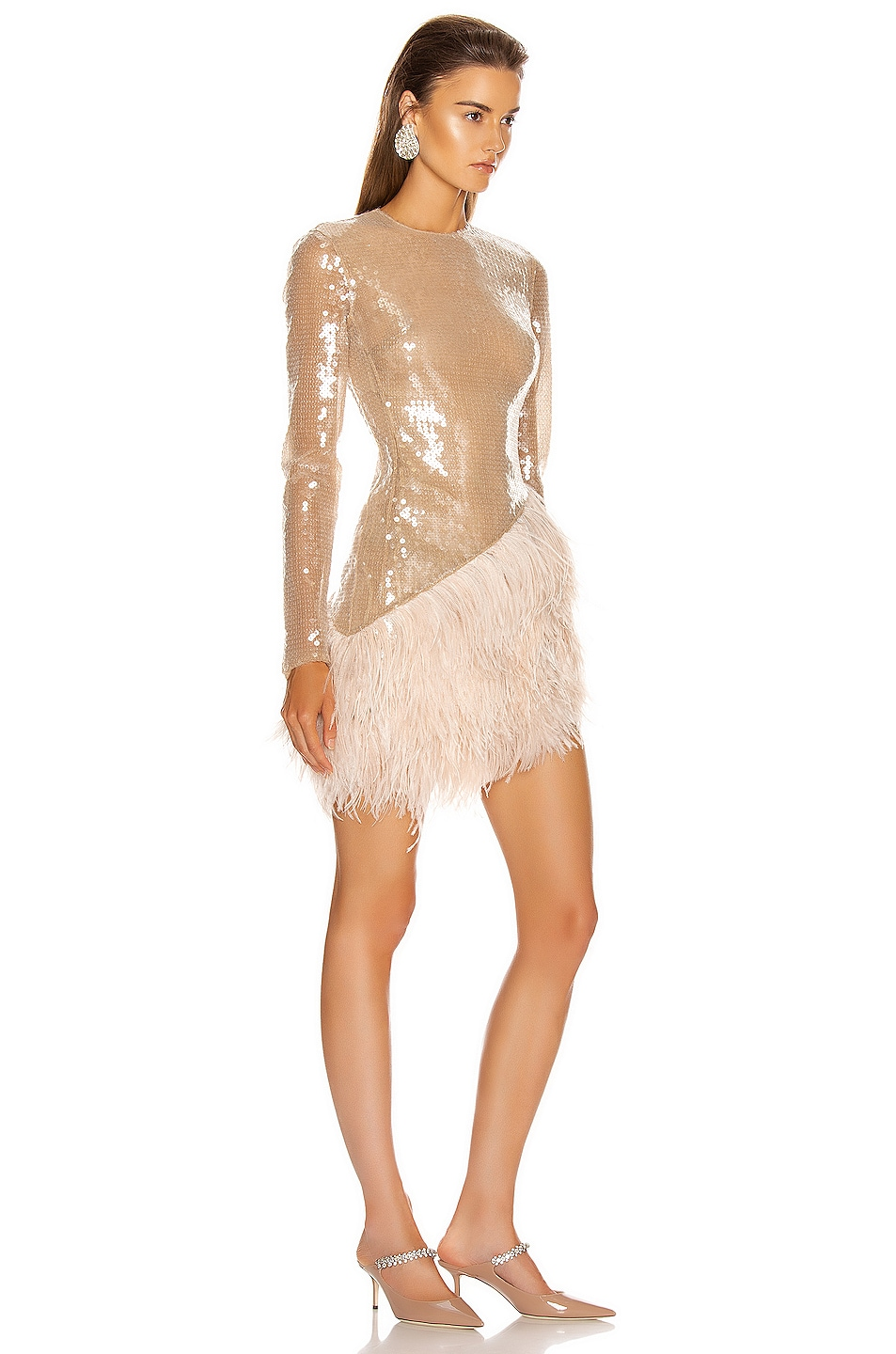 Image 2 of David Koma Feather Trim Sequin Long Sleeve Dress in Beige
