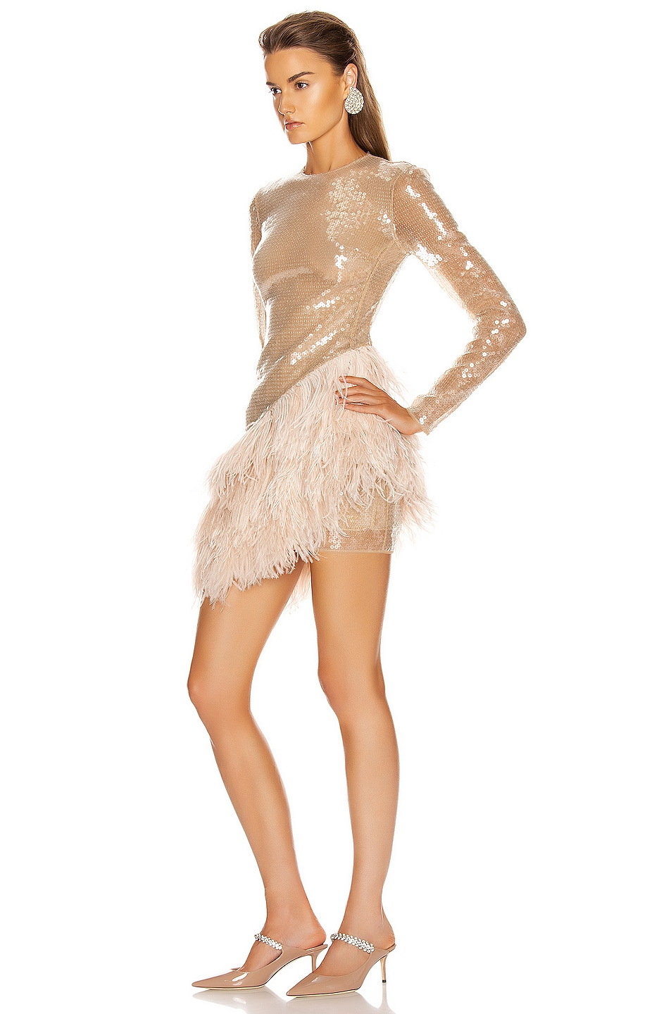 Image 3 of David Koma Feather Trim Sequin Long Sleeve Dress in Beige