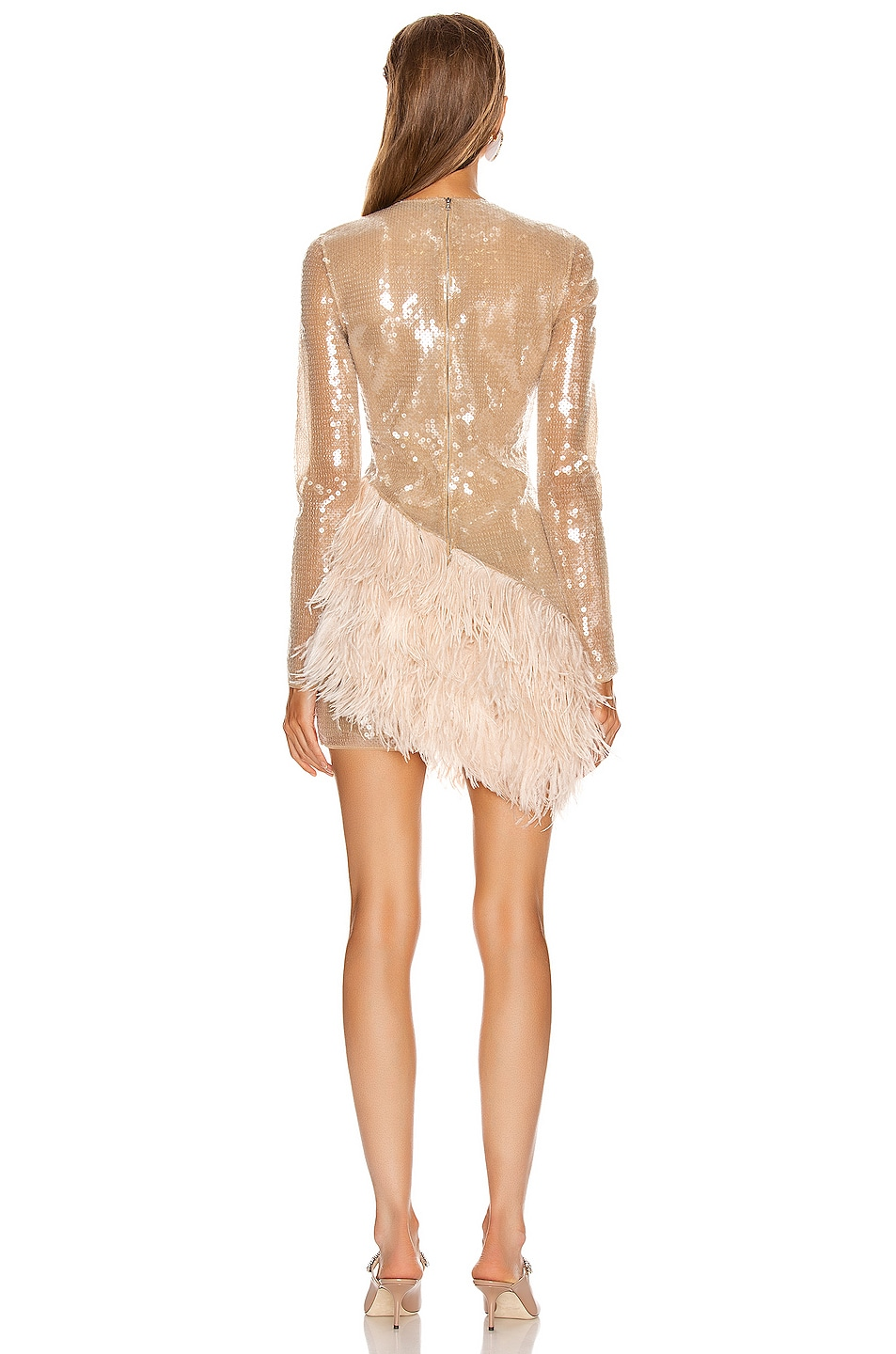 Image 4 of David Koma Feather Trim Sequin Long Sleeve Dress in Beige